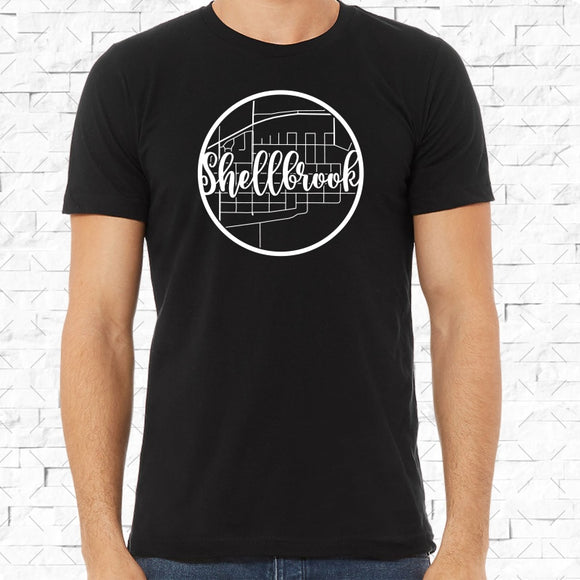 adult-sized black short-sleeved shirt with white Shellbrook hometown map design