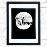 Close-up of Oxbow hometown map design in black shadowbox frame with white matte