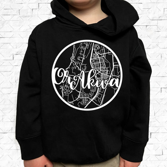 toddler-sized black hoodie with Or Akiva hometown map design