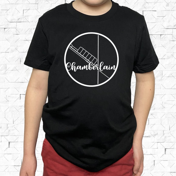 youth-sized black short-sleeved shirt with white Chamberlain hometown map design