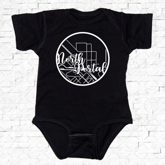 baby-sized black short-sleeved onesie with North Portal hometown map design