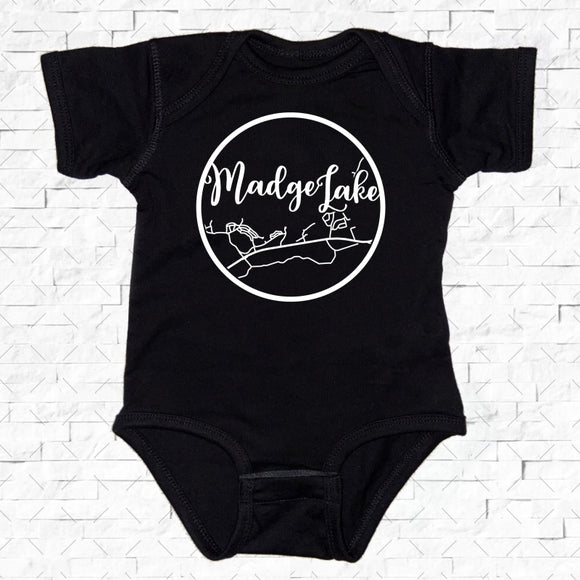 baby-sized black short-sleeved onesie with Madge Lake hometown map design