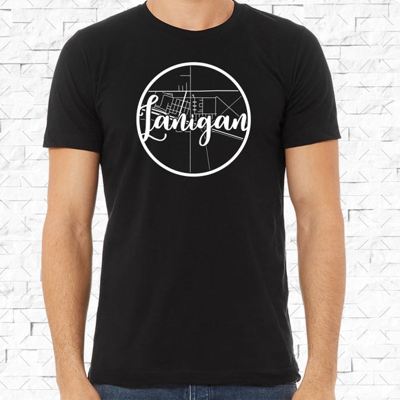 adult-sized black short-sleeved shirt with white Lanigan hometown map design