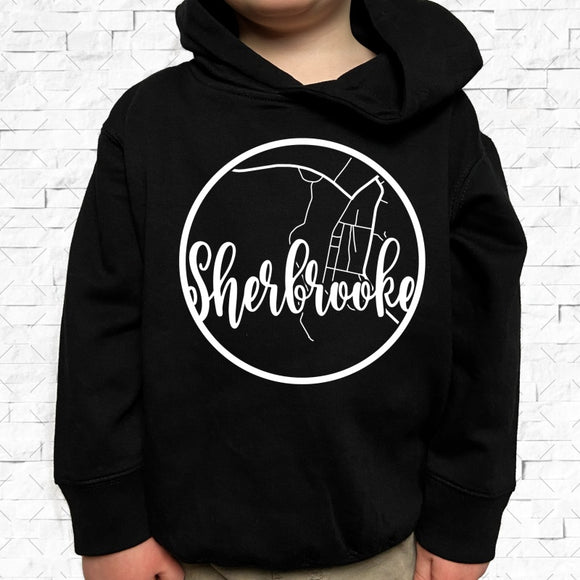 toddler-sized black hoodie with Sherbrooke hometown map design