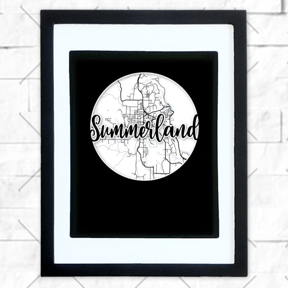 Close-up of Summerland hometown map design in black shadowbox frame with white matte