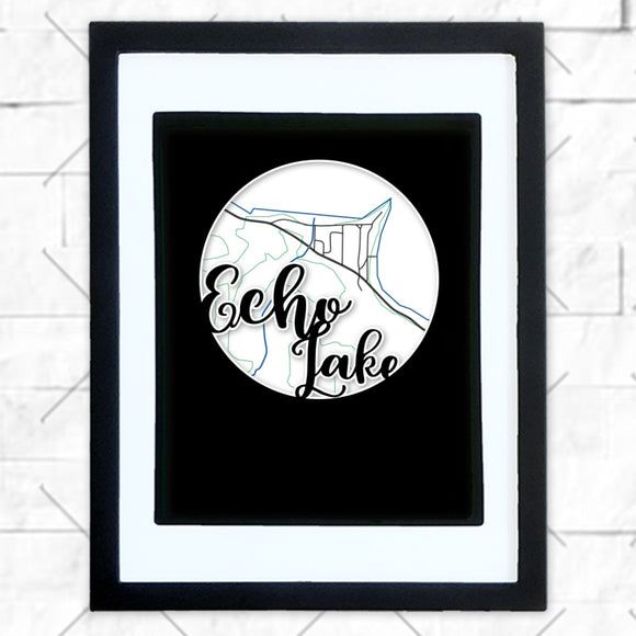 Close-up of Echo Lake hometown map design in black shadowbox frame with white matte