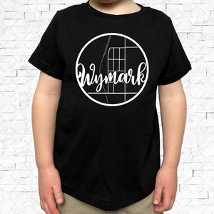 toddler-sized black short-sleeved shirt with white Wymark hometown map design