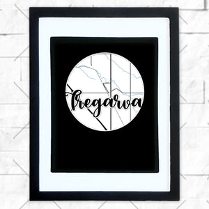Close-up of Tregarva hometown map design in black shadowbox frame with white matte