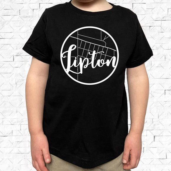 toddler-sized black short-sleeved shirt with white Lipton hometown map design