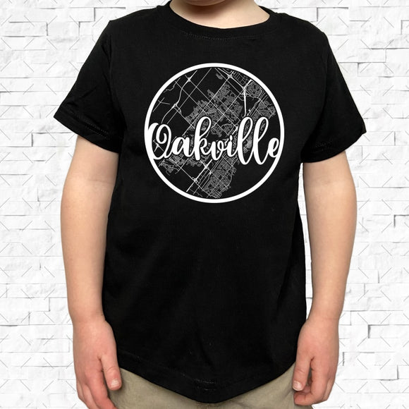 toddler-sized black short-sleeved shirt with white Oakville hometown map design
