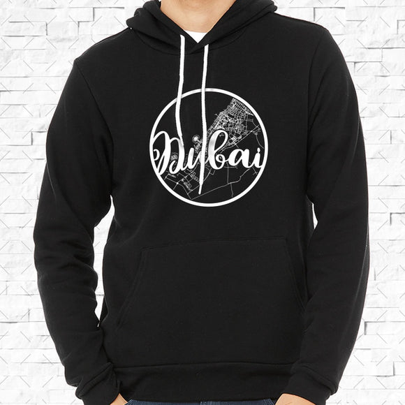 adult-sized black hoodie with white Dubai hometown map design
