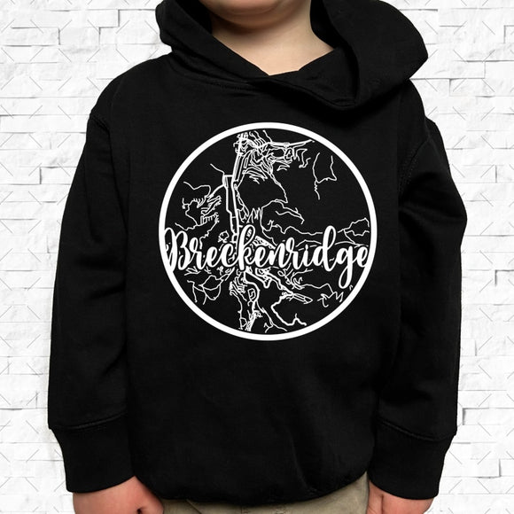 toddler-sized black hoodie with Breckenridge hometown map design