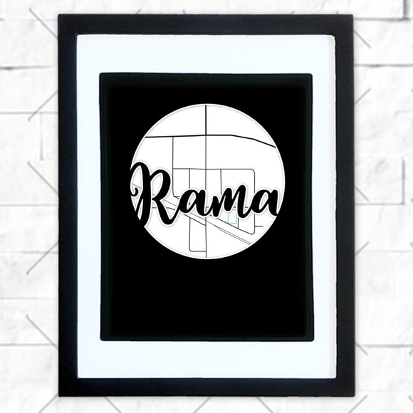 Close-up of Rama hometown map design in black shadowbox frame with white matte