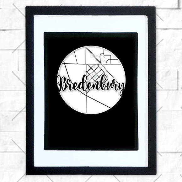Close-up of Bredenbury hometown map design in black shadowbox frame with white matte
