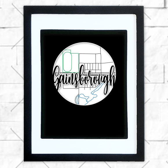 Close-up of Gainsborough hometown map design in black shadowbox frame with white matte