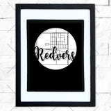 Close-up of Redvers hometown map design in black shadowbox frame with white matte