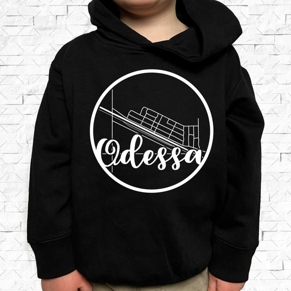 toddler-sized black hoodie with Odessa hometown map design