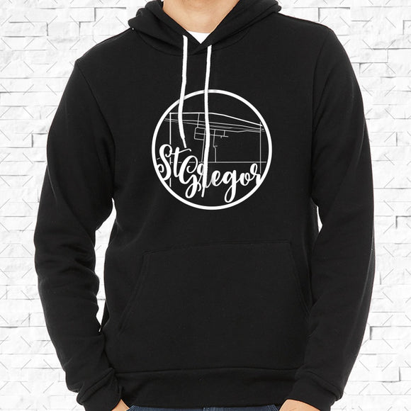 adult-sized black hoodie with white St Gregor hometown map design