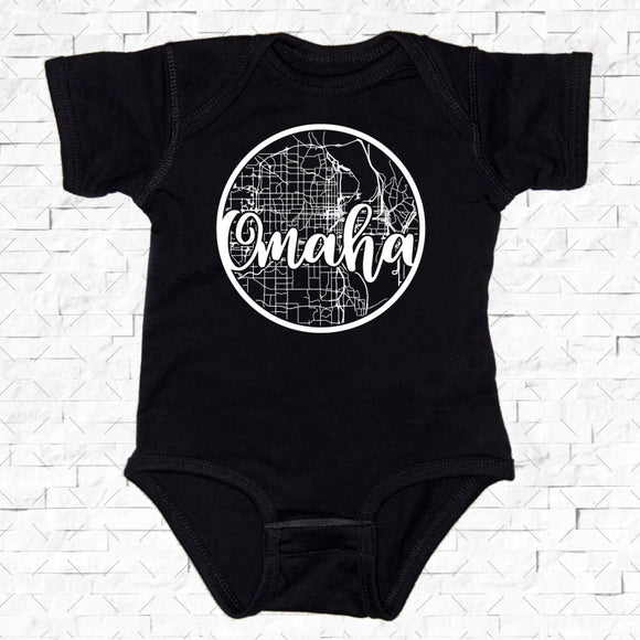 baby-sized black short-sleeved onesie with Omaha hometown map design