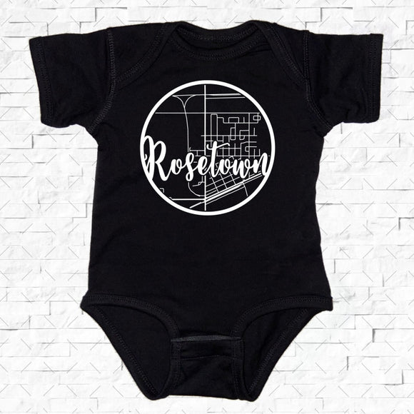 baby-sized black short-sleeved onesie with Rosetown hometown map design