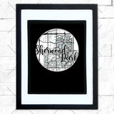 Close-up of Sherwood Park hometown map design in black shadowbox frame with white matte