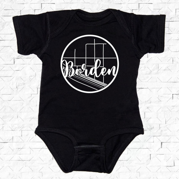 baby-sized black short-sleeved onesie with Borden hometown map design