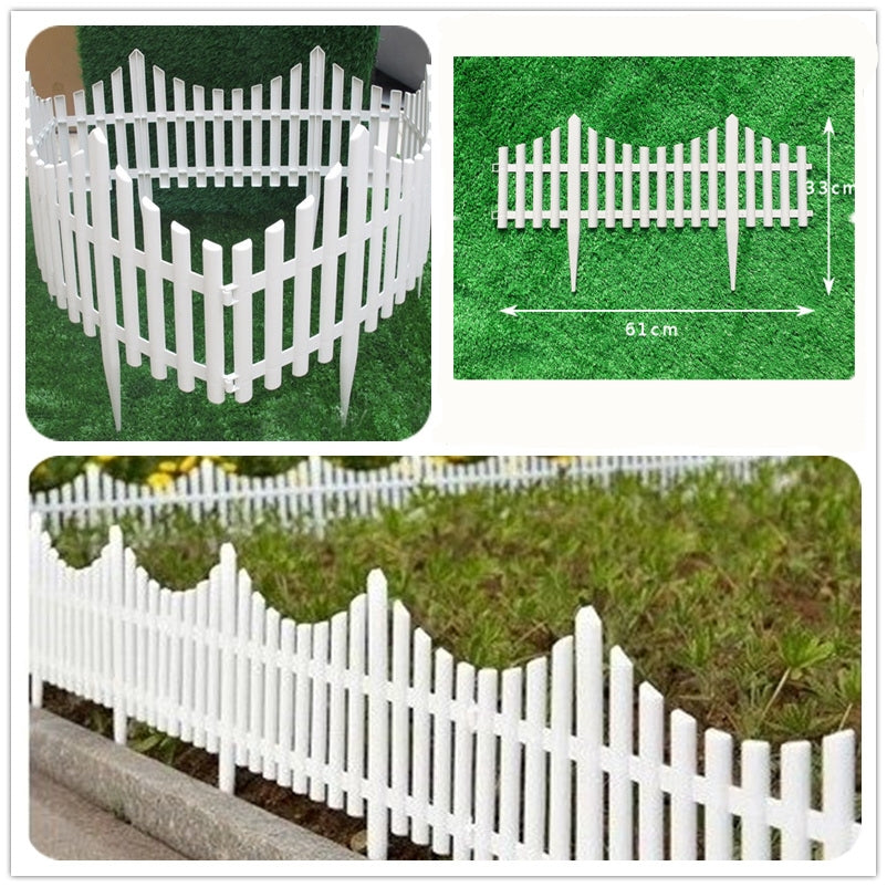 QuickPicket™ Flexible Plastic Garden Picket Fence Lawn Edging Decorations (12 Panel Set)
