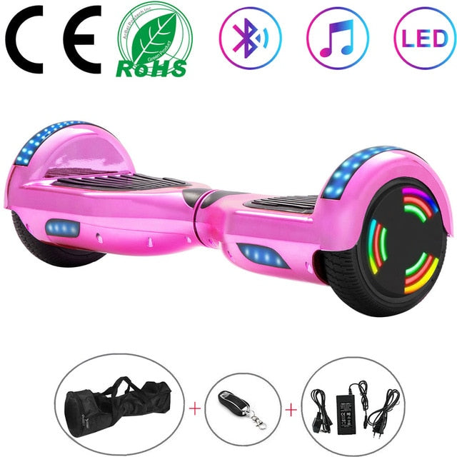 6.5 Inch Self-Balancing Scooters Cheap LED Electric Scooters Two Wheels Balance Skateboard Hoverboard Bluetooth+Remote Key+Bag