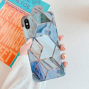 Soft Retro Geometric Marble Stone iPhone Case