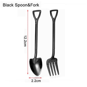 Shovel Shaped Multi-colored Spoon & Fork
