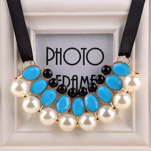 Women Neck Wearing Chains Imitation Pearl Choker Collar Ribbon Bead Rhinestone Chain Statement Necklaces Pendants Girl Jewelry - Irene Cheung