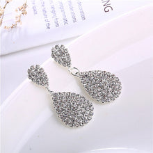 Load image into Gallery viewer, Gold Silver Drop Dangle Earrings with Full Crystal Luxury Water Drop - Irene Cheung