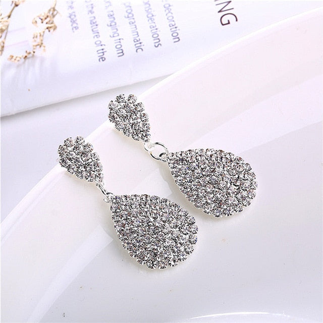 Gold Silver Drop Dangle Earrings with Full Crystal Luxury Water Drop - Irene Cheung