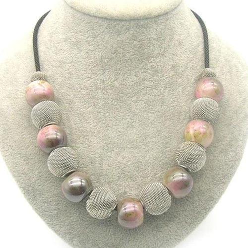 Hot Sale Handmade Acrylic Bead and Mesh Metal Short Necklace - Irene Cheung