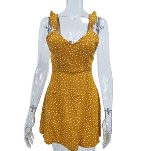 Summer Ladies High Waist Dot Printing  Backless Dress - Nova Dream Shop
