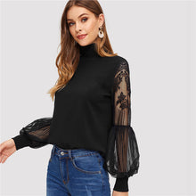 Load image into Gallery viewer, High Neck Lace Lantern Sleeve Top FLong Sleeve Pattern Printing Ladies - Irene Cheung