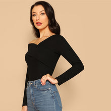 Load image into Gallery viewer, Asymmetrical Neck Solid Tee Rib-Knit Slim Top - Nova Dream Shop
