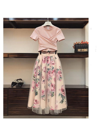 T Shirt and  Vintage Floral Skirt Sets Elegant Woman Two Piece Set - Irene Cheung