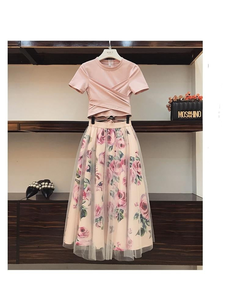 T Shirt and  Vintage Floral Skirt Sets Elegant Woman Two Piece Set - Nova Dream Shop