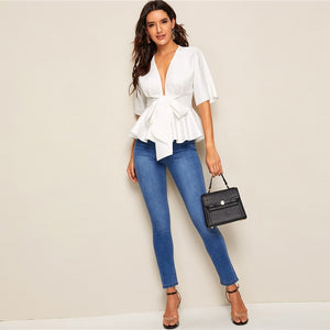 Plunge Neck White Solid Slim Fit Tops and Blouses - Nova Dream Shop