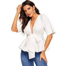 Load image into Gallery viewer, Plunge Neck White Solid Slim Fit Tops and Blouses - Nova Dream Shop