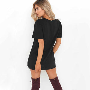 Loose Short Sleeve T-Shirts Sexy V-Neck Cotton Tee Dress - Nova Dream Shop