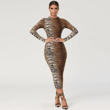 Load image into Gallery viewer, Leopard print long sleeve slim bodycon sexy dress - Irene Cheung