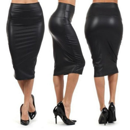 High Waist Faux Leather Pencil Skirt - Irene Cheung