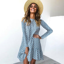 Load image into Gallery viewer, Polka Dot Chiffon Dress Long Sleeve O Neck Ruffle Female Casual - Nova Dream Shop