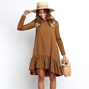 Polka Dot Chiffon Dress Long Sleeve O Neck Ruffle Female Casual - Nova Dream Shop