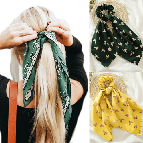Floral Print Elastic Hair Bands Streamers Scarf Hair Accessories - Nova Dream Shop