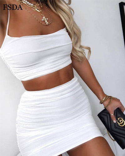 Backless Dress Two Piece Set Outfit  - Women Spaghetti Strap Crop Top And Mini Skirt Sexy Summer - Nova Dream Shop