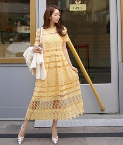 Korean temperament lace collar waist openwork lace big swing Dress - Nova Dream Shop
