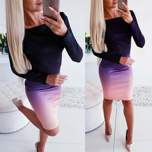 Office lady Elegant Dress New Long Sleeve Ladies Stretch Bodycon Plain Dress - Irene Cheung